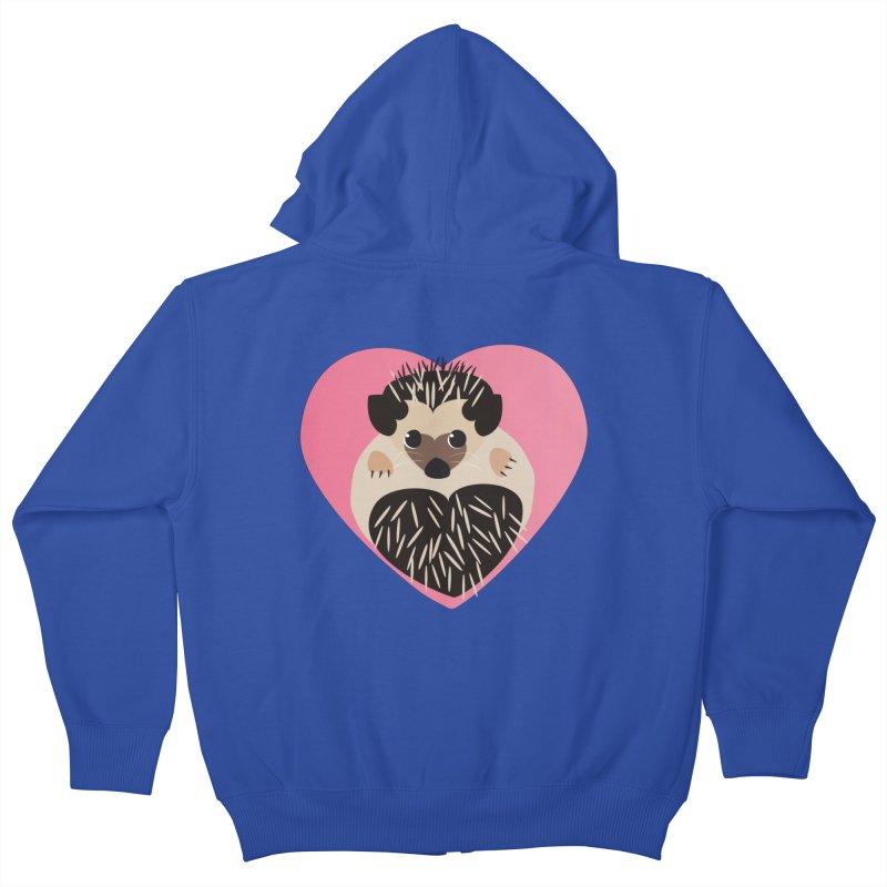 Hedgehog Loves You Kids Zip-Up Hoody by Flourish & Flow's Artist Shop