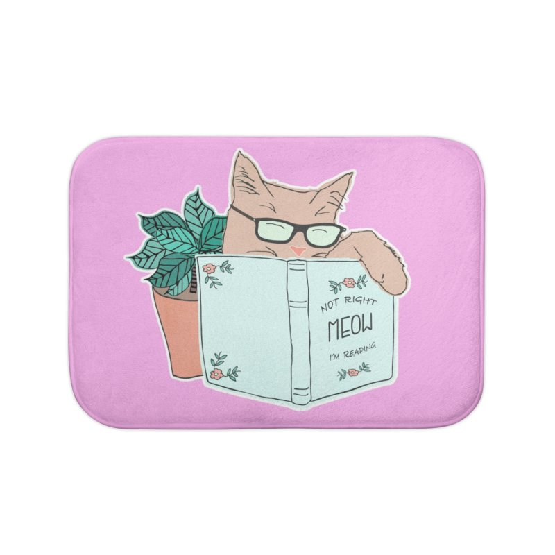 Not Right Meow I'm Reading, Cat with glasses, Book and Pot Plant Home Bath Mat by Flourish & Flow's Artist Shop