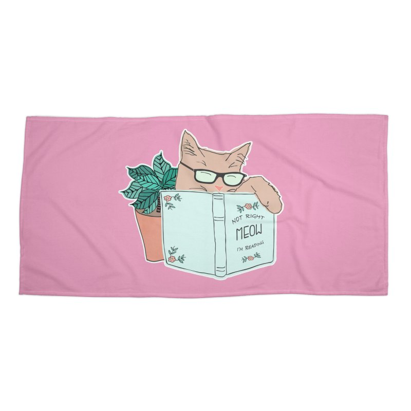 Not Right Meow I'm Reading, Cat with glasses, Book and Pot Plant Accessories Beach Towel by Flourish & Flow's Artist Shop