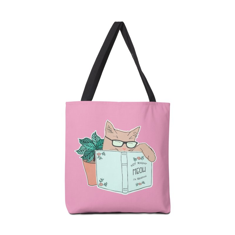 Not Right Meow I'm Reading, Cat with glasses, Book and Pot Plant Accessories Bag by Flourish & Flow's Artist Shop
