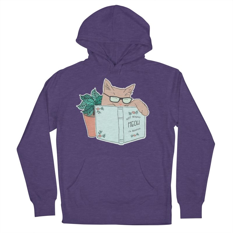 Not Right Meow I'm Reading, Cat with glasses, Book and Pot Plant Women's French Terry Pullover Hoody by Flourish & Flow's Artist Shop