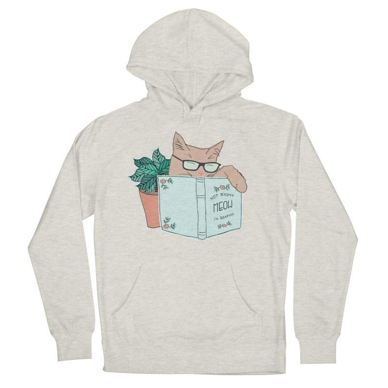 Not Right Meow I'm Reading, Cat with glasses, Book and Pot Plant Men's French Terry Pullover Hoody by Flourish & Flow's Artist Shop