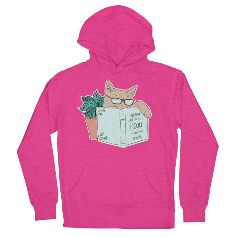 Not Right Meow I'm Reading, Cat with glasses, Book and Pot Plant Men's Pullover Hoody by Flourish & Flow's Artist Shop