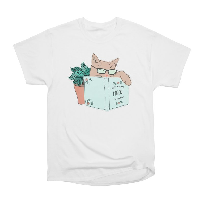 Not Right Meow I'm Reading, Cat with glasses, Book and Pot Plant Men's Heavyweight T-Shirt by Flourish & Flow's Artist Shop