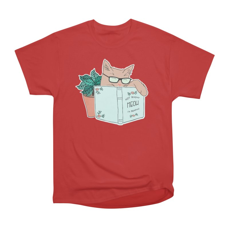 Not Right Meow I'm Reading, Cat with glasses, Book and Pot Plant Women's Heavyweight Unisex T-Shirt by Flourish & Flow's Artist Shop