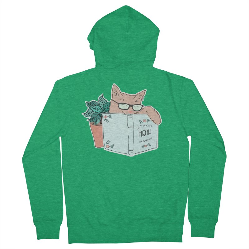 Not Right Meow I'm Reading, Cat with glasses, Book and Pot Plant Women's French Terry Zip-Up Hoody by Flourish & Flow's Artist Shop