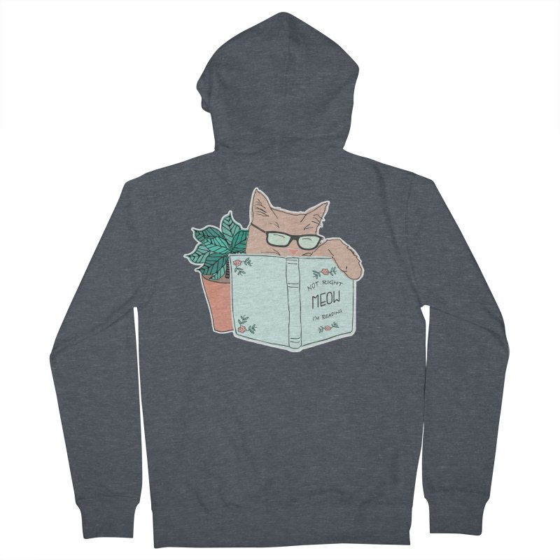 Not Right Meow I'm Reading, Cat with glasses, Book and Pot Plant Women's Zip-Up Hoody by Flourish & Flow's Artist Shop