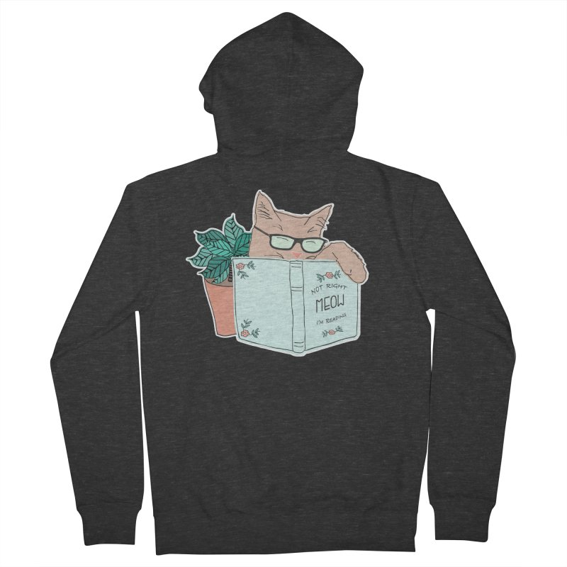 Not Right Meow I'm Reading, Cat with glasses, Book and Pot Plant Men's Zip-Up Hoody by Flourish & Flow's Artist Shop