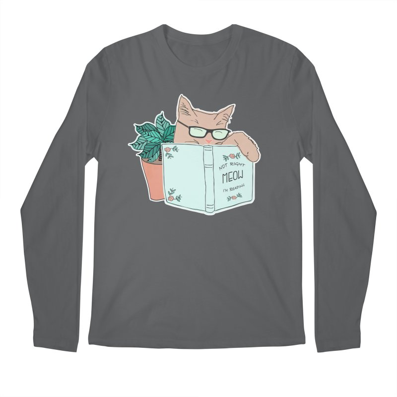 Not Right Meow I'm Reading, Cat with glasses, Book and Pot Plant Men's Longsleeve T-Shirt by Flourish & Flow's Artist Shop