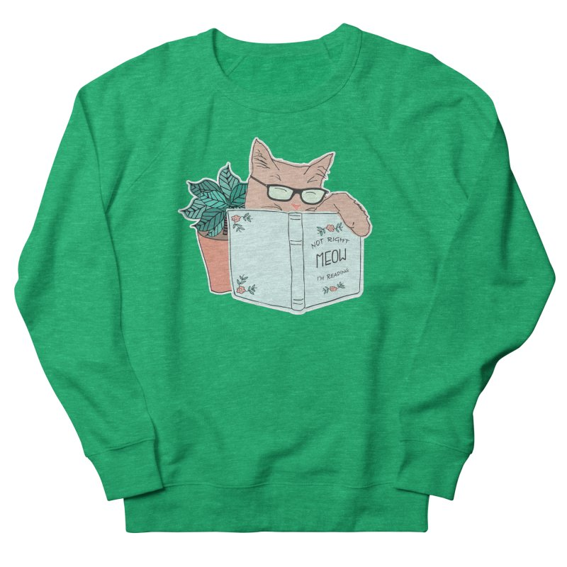 Not Right Meow I'm Reading, Cat with glasses, Book and Pot Plant Men's Sweatshirt by Flourish & Flow's Artist Shop