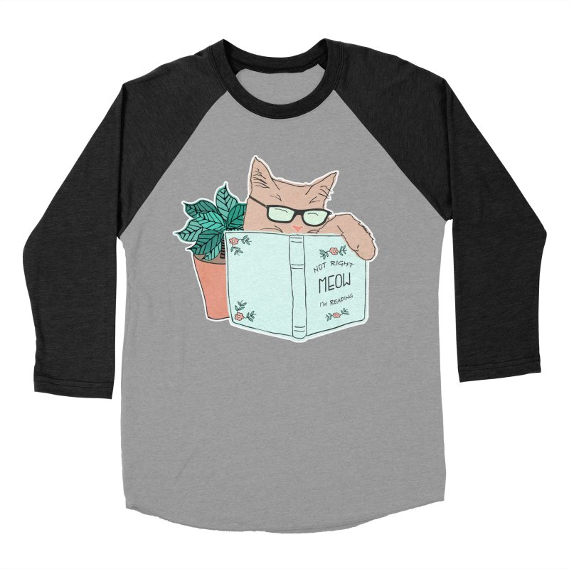 Not Right Meow I'm Reading, Cat with glasses, Book and Pot Plant Men's Baseball Triblend Longsleeve T-Shirt by Flourish & Flow's Artist Shop