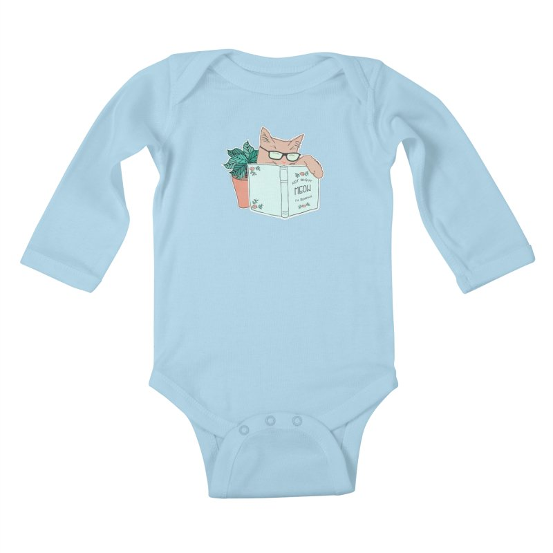 Not Right Meow I'm Reading, Cat with glasses, Book and Pot Plant Kids Baby Longsleeve Bodysuit by Flourish & Flow's Artist Shop
