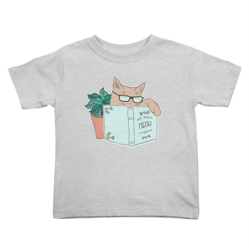 Not Right Meow I'm Reading, Cat with glasses, Book and Pot Plant Kids Toddler T-Shirt by Flourish & Flow's Artist Shop