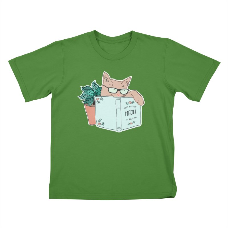 Not Right Meow I'm Reading, Cat with glasses, Book and Pot Plant Kids T-Shirt by Flourish & Flow's Artist Shop