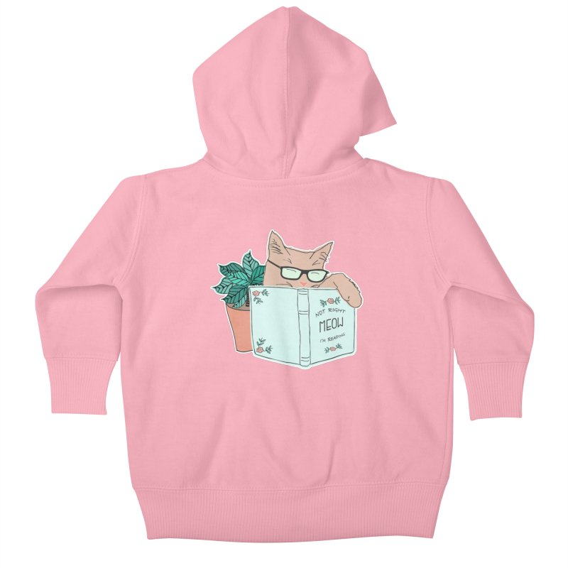 Not Right Meow I'm Reading, Cat with glasses, Book and Pot Plant Kids Baby Zip-Up Hoody by Flourish & Flow's Artist Shop