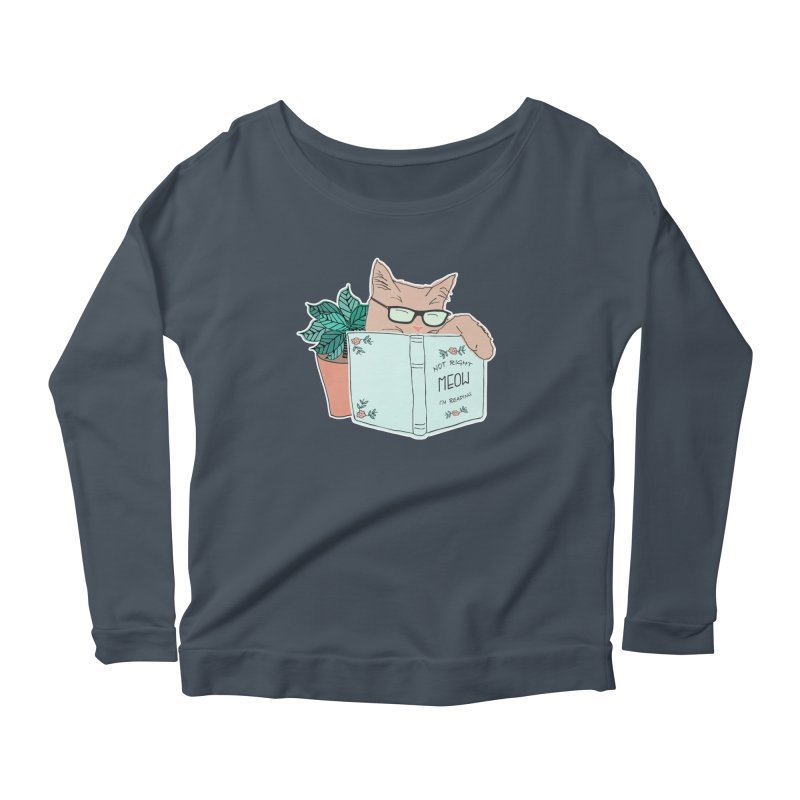 Not Right Meow I'm Reading, Cat with glasses, Book and Pot Plant Women's Scoop Neck Longsleeve T-Shirt by Flourish & Flow's Artist Shop