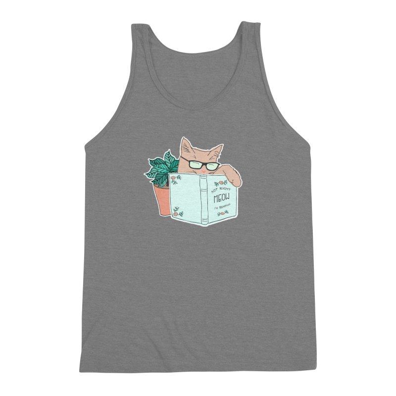 Not Right Meow I'm Reading, Cat with glasses, Book and Pot Plant Men's Triblend Tank by Flourish & Flow's Artist Shop