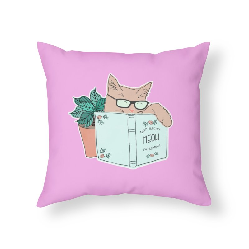 Not Right Meow I'm Reading, Cat with glasses, Book and Pot Plant Home Throw Pillow by Flourish & Flow's Artist Shop