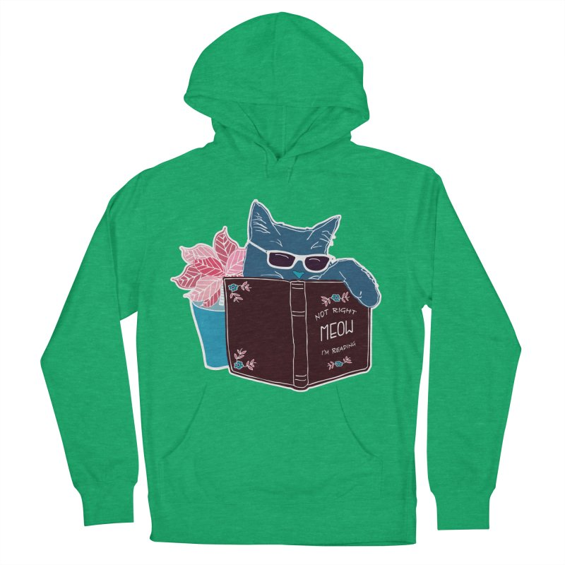 """Cool Cat """"Not Right Meow I'm Reading"""" Cat with Sunglasses Book Quote Men's French Terry Pullover Hoody by Flourish & Flow's Artist Shop"""