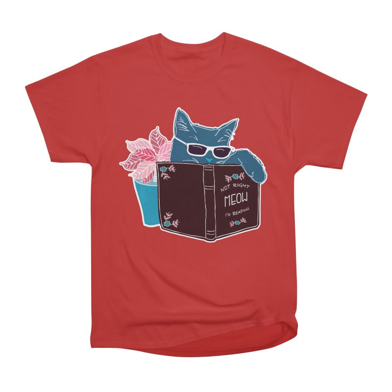 """Cool Cat """"Not Right Meow I'm Reading"""" Cat with Sunglasses Book Quote Men's Heavyweight T-Shirt by Flourish & Flow's Artist Shop"""
