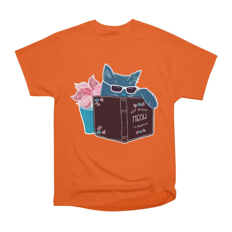 "Cool Cat ""Not Right Meow I'm Reading"" Cat with Sunglasses Book Quote Women's Heavyweight Unisex T-Shirt by Flourish & Flow's Artist Shop"