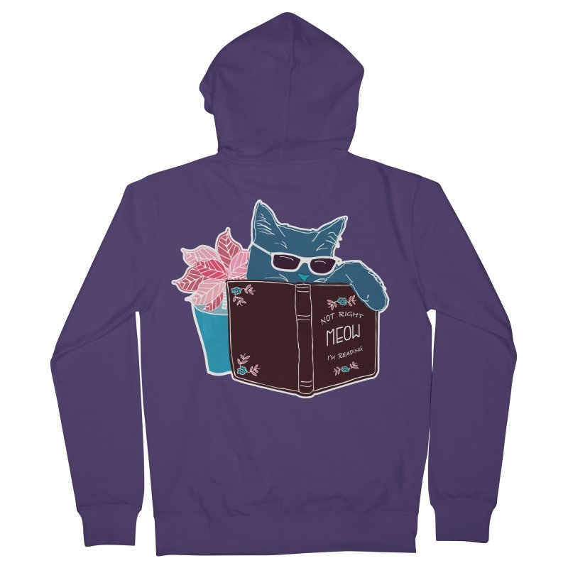 """Cool Cat """"Not Right Meow I'm Reading"""" Cat with Sunglasses Book Quote Women's French Terry Zip-Up Hoody by Flourish & Flow's Artist Shop"""