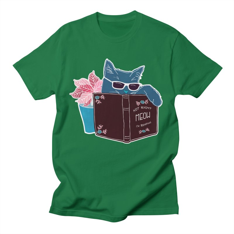 """Cool Cat """"Not Right Meow I'm Reading"""" Cat with Sunglasses Book Quote Men's T-Shirt by Flourish & Flow's Artist Shop"""