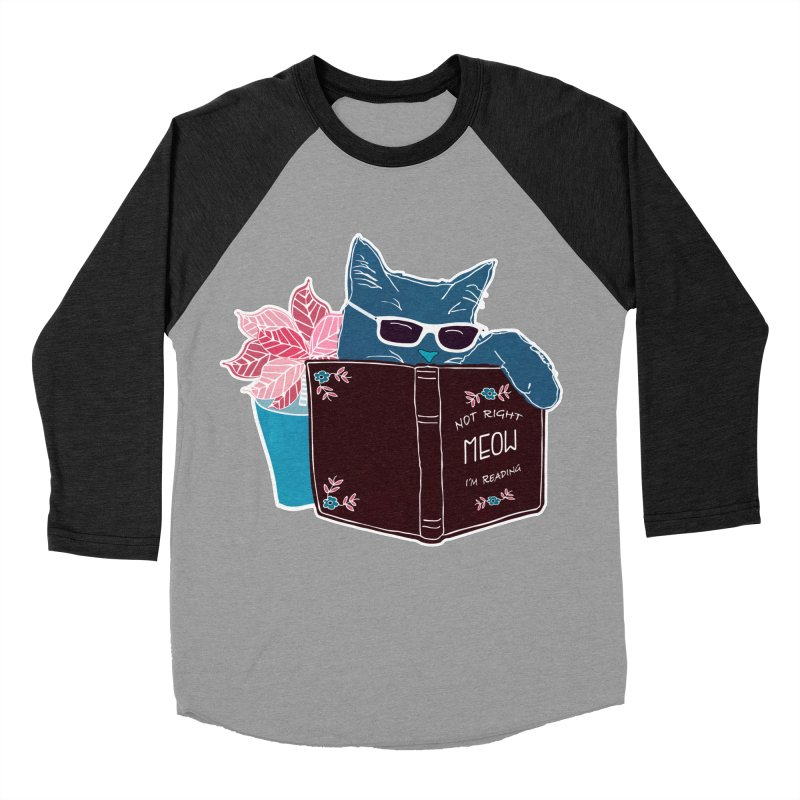 "Cool Cat ""Not Right Meow I'm Reading"" Cat with Sunglasses Book Quote Men's Baseball Triblend Longsleeve T-Shirt by Flourish & Flow's Artist Shop"
