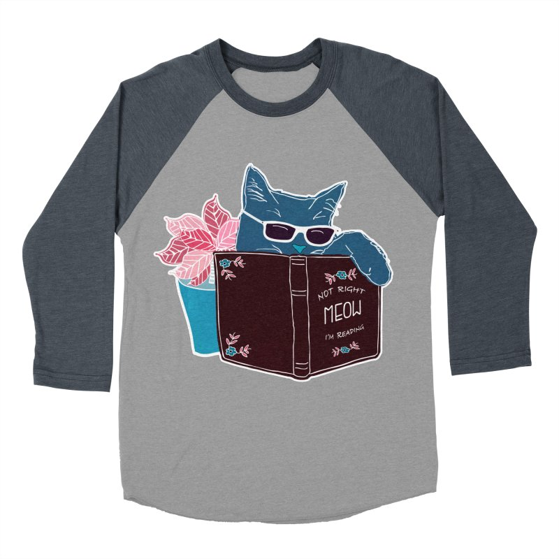 """Cool Cat """"Not Right Meow I'm Reading"""" Cat with Sunglasses Book Quote Men's Baseball Triblend T-Shirt by Flourish & Flow's Artist Shop"""