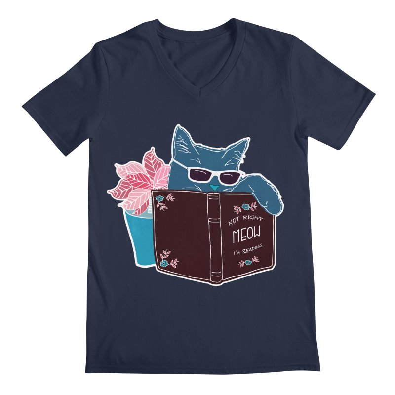 "Cool Cat ""Not Right Meow I'm Reading"" Cat with Sunglasses Book Quote Men's V-Neck by Flourish & Flow's Artist Shop"