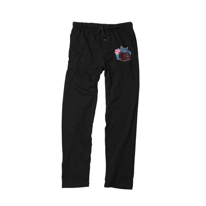 """Cool Cat """"Not Right Meow I'm Reading"""" Cat with Sunglasses Book Quote Men's Lounge Pants by Flourish & Flow's Artist Shop"""