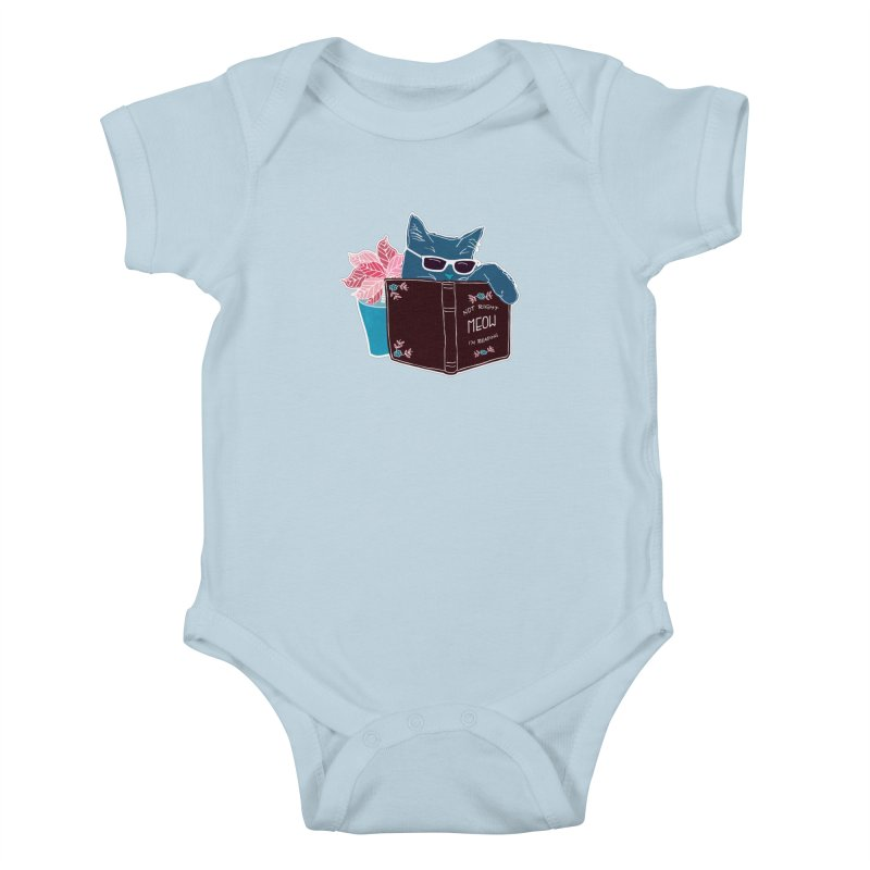 """Cool Cat """"Not Right Meow I'm Reading"""" Cat with Sunglasses Book Quote Kids Baby Bodysuit by Flourish & Flow's Artist Shop"""