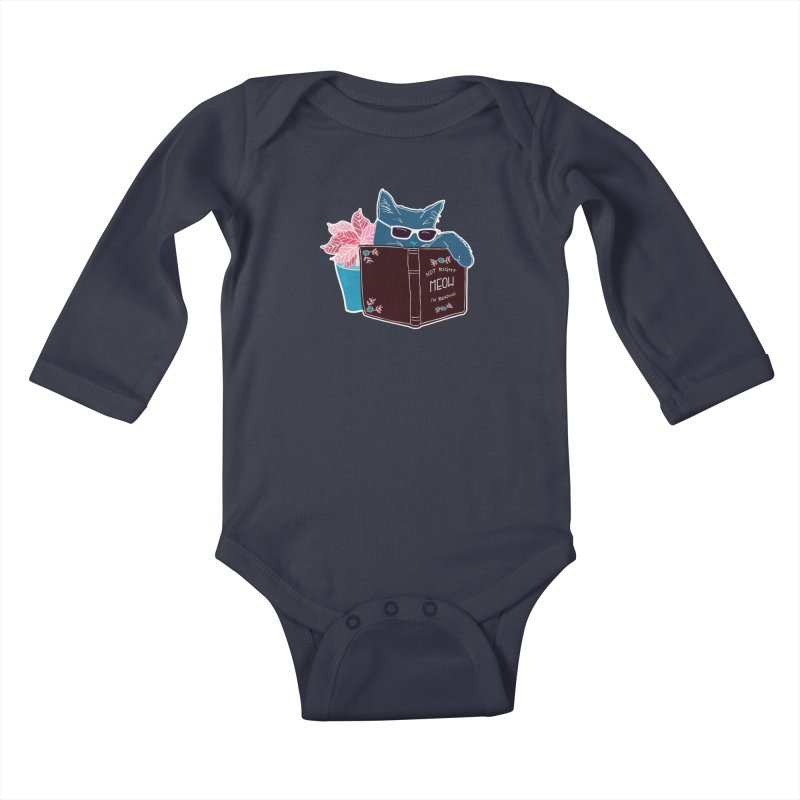 """Cool Cat """"Not Right Meow I'm Reading"""" Cat with Sunglasses Book Quote Kids Baby Longsleeve Bodysuit by Flourish & Flow's Artist Shop"""