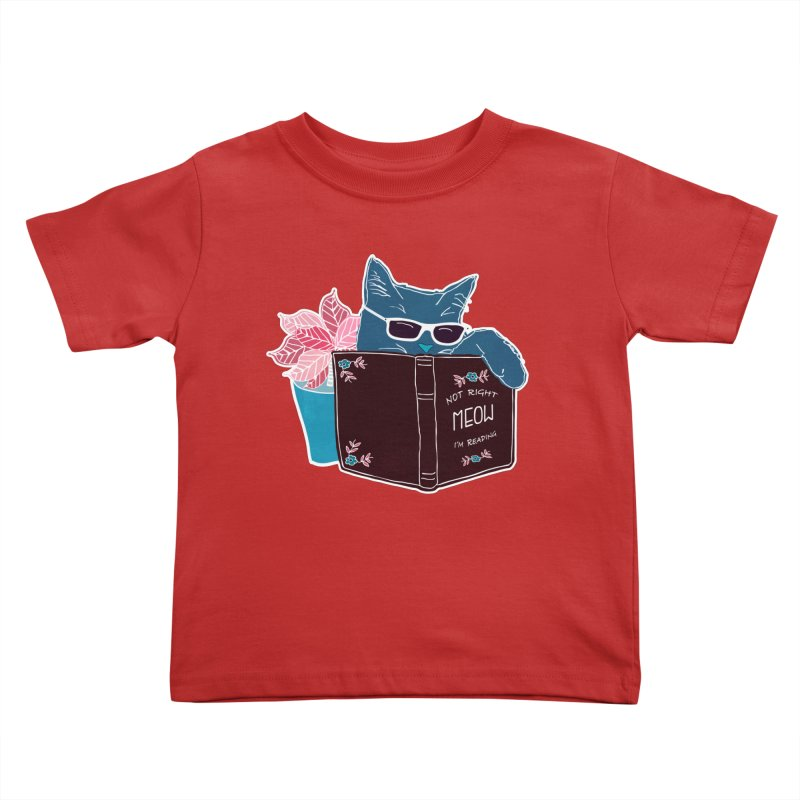 """Cool Cat """"Not Right Meow I'm Reading"""" Cat with Sunglasses Book Quote Kids Toddler T-Shirt by Flourish & Flow's Artist Shop"""