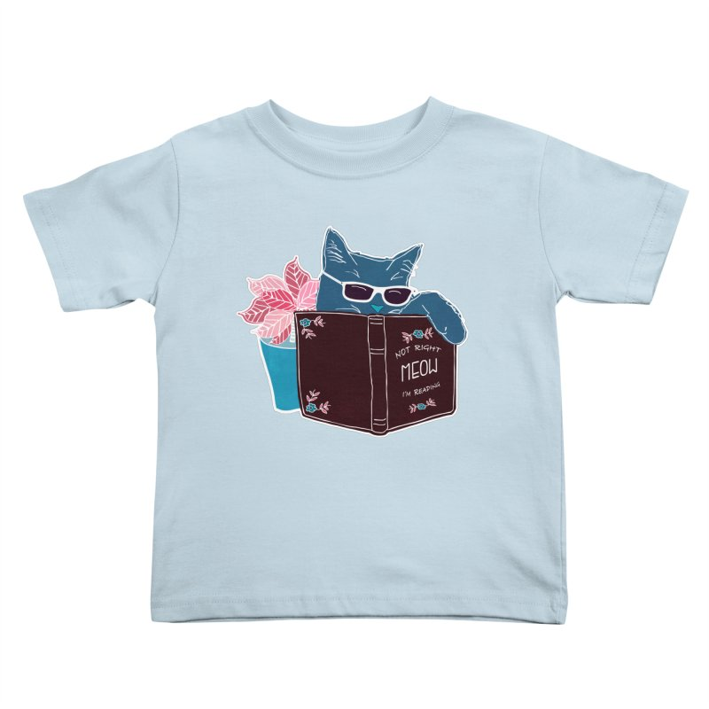 "Cool Cat ""Not Right Meow I'm Reading"" Cat with Sunglasses Book Quote Kids Toddler T-Shirt by Flourish & Flow's Artist Shop"