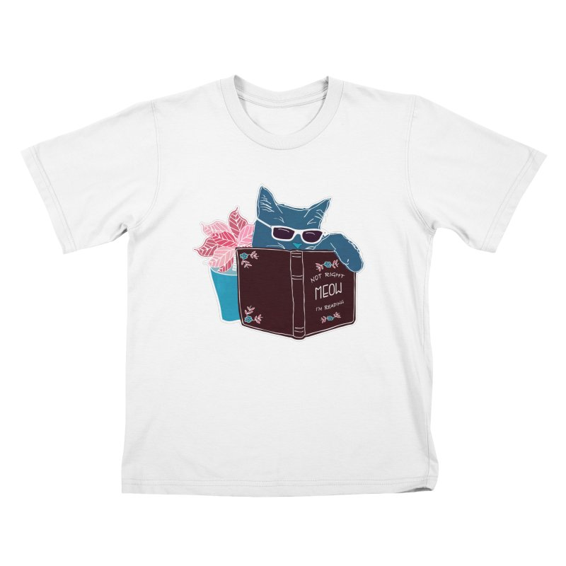"""Cool Cat """"Not Right Meow I'm Reading"""" Cat with Sunglasses Book Quote Kids T-Shirt by Flourish & Flow's Artist Shop"""