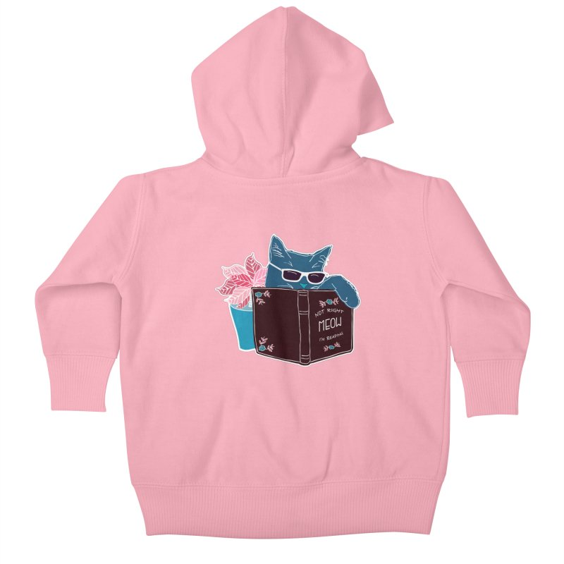 "Cool Cat ""Not Right Meow I'm Reading"" Cat with Sunglasses Book Quote Kids Baby Zip-Up Hoody by Flourish & Flow's Artist Shop"