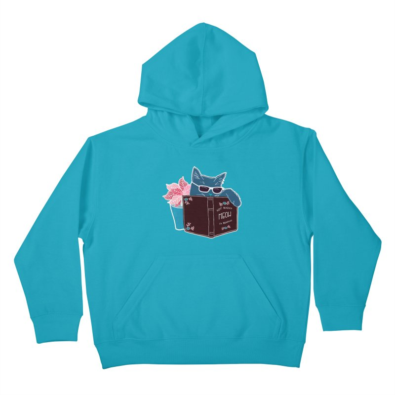 """Cool Cat """"Not Right Meow I'm Reading"""" Cat with Sunglasses Book Quote Kids Pullover Hoody by Flourish & Flow's Artist Shop"""