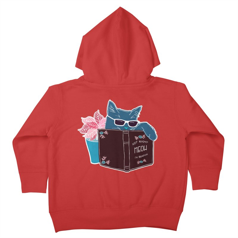 """Cool Cat """"Not Right Meow I'm Reading"""" Cat with Sunglasses Book Quote Kids Toddler Zip-Up Hoody by Flourish & Flow's Artist Shop"""