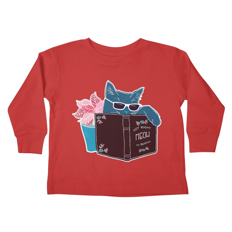 """Cool Cat """"Not Right Meow I'm Reading"""" Cat with Sunglasses Book Quote Kids Toddler Longsleeve T-Shirt by Flourish & Flow's Artist Shop"""