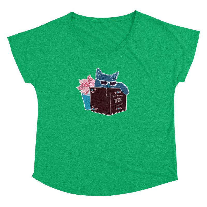 """Cool Cat """"Not Right Meow I'm Reading"""" Cat with Sunglasses Book Quote Women's Dolman by Flourish & Flow's Artist Shop"""