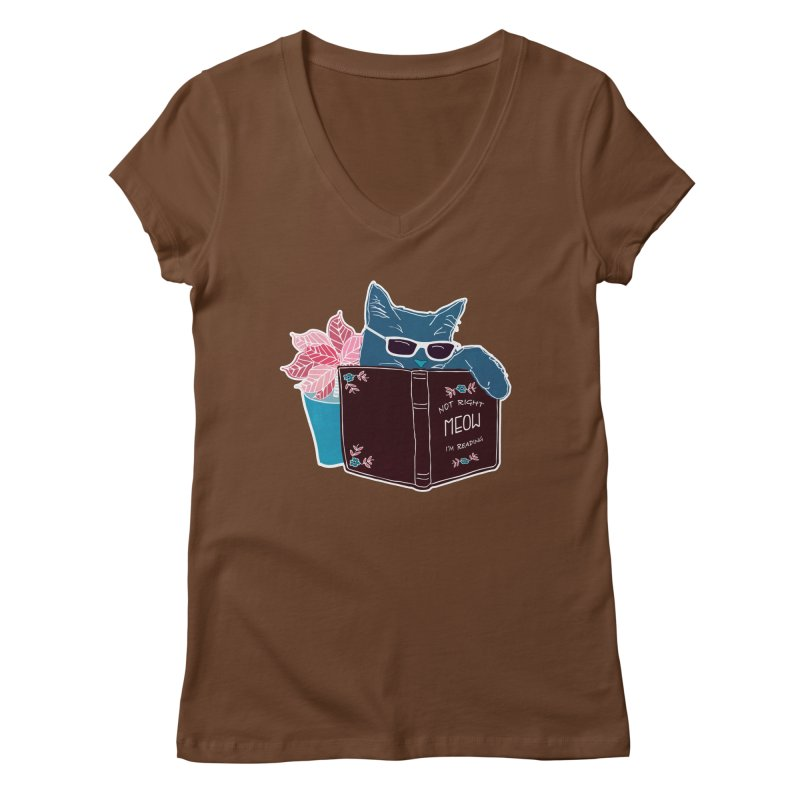 """Cool Cat """"Not Right Meow I'm Reading"""" Cat with Sunglasses Book Quote Women's V-Neck by Flourish & Flow's Artist Shop"""