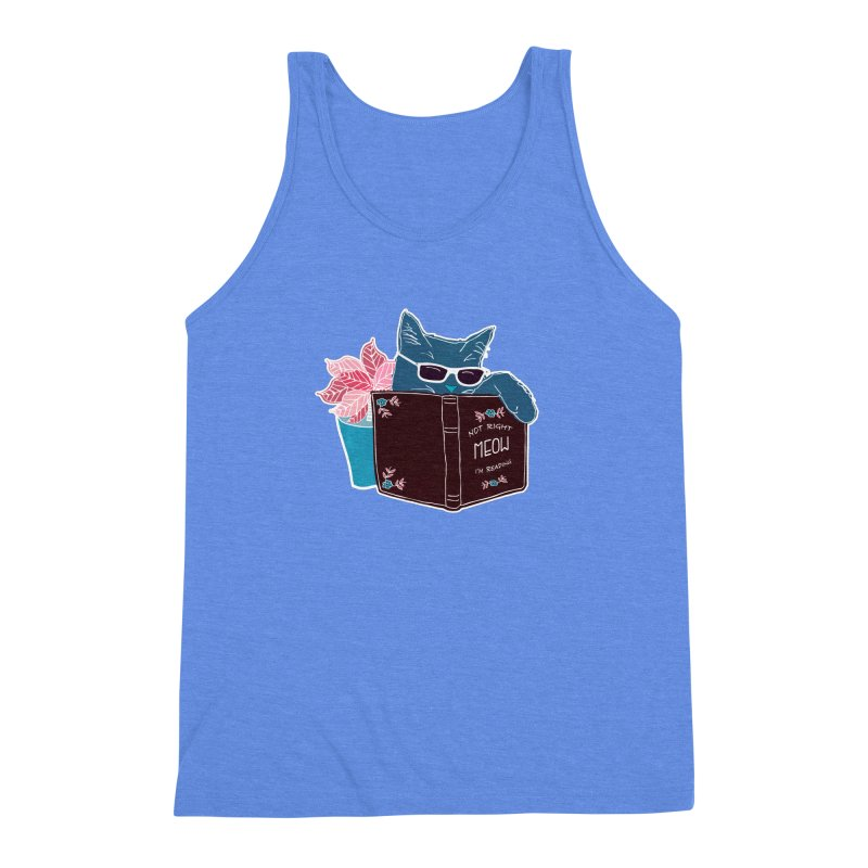 "Cool Cat ""Not Right Meow I'm Reading"" Cat with Sunglasses Book Quote Men's Triblend Tank by Flourish & Flow's Artist Shop"