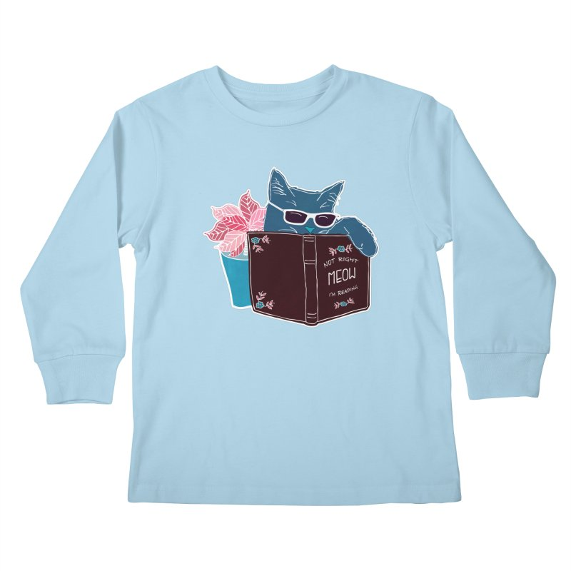 "Cool Cat ""Not Right Meow I'm Reading"" Cat with Sunglasses Book Quote Kids Longsleeve T-Shirt by Flourish & Flow's Artist Shop"