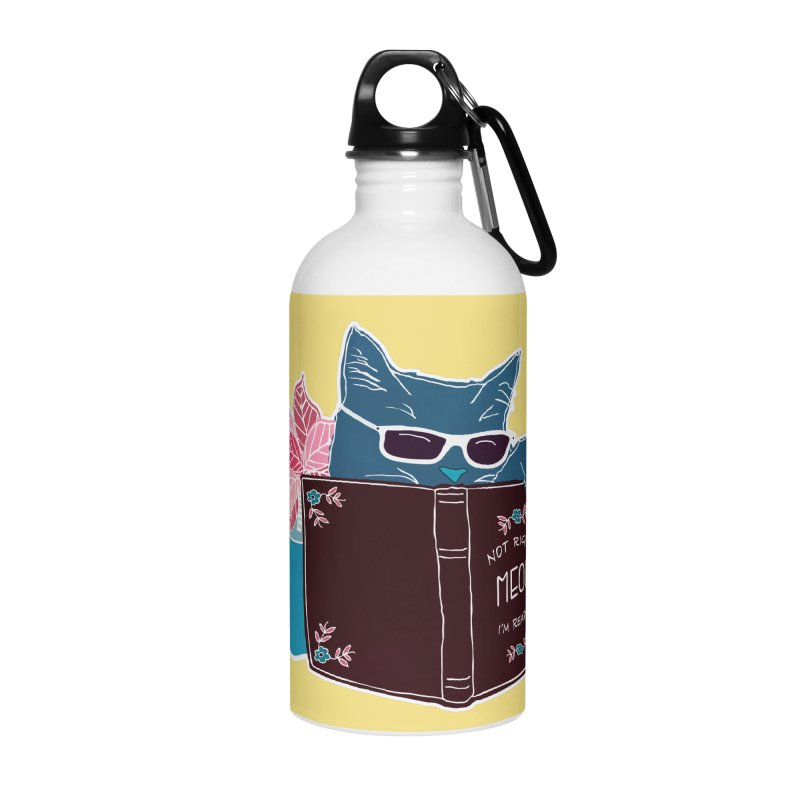 "Cool Cat ""Not Right Meow I'm Reading"" Cat with Sunglasses Book Quote Accessories Water Bottle by Flourish & Flow's Artist Shop"