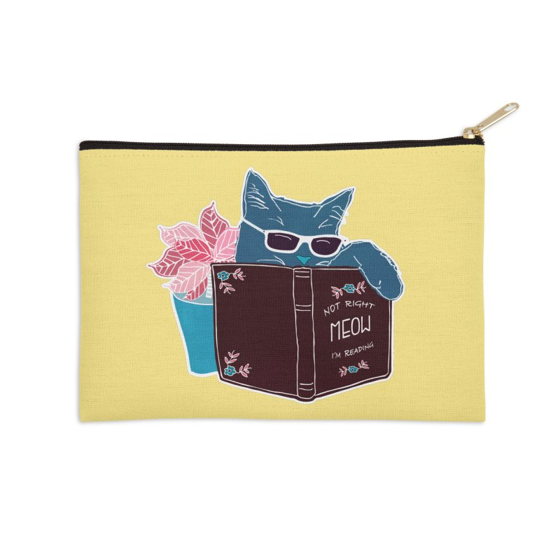 """Cool Cat """"Not Right Meow I'm Reading"""" Cat with Sunglasses Book Quote Accessories Zip Pouch by Flourish & Flow's Artist Shop"""