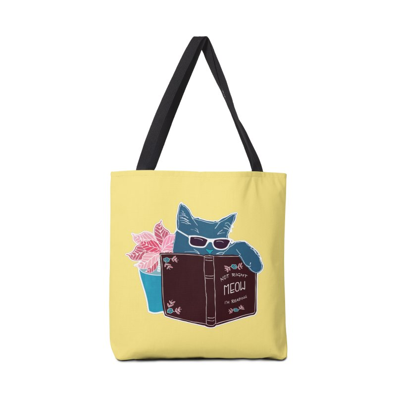 """Cool Cat """"Not Right Meow I'm Reading"""" Cat with Sunglasses Book Quote Accessories Bag by Flourish & Flow's Artist Shop"""