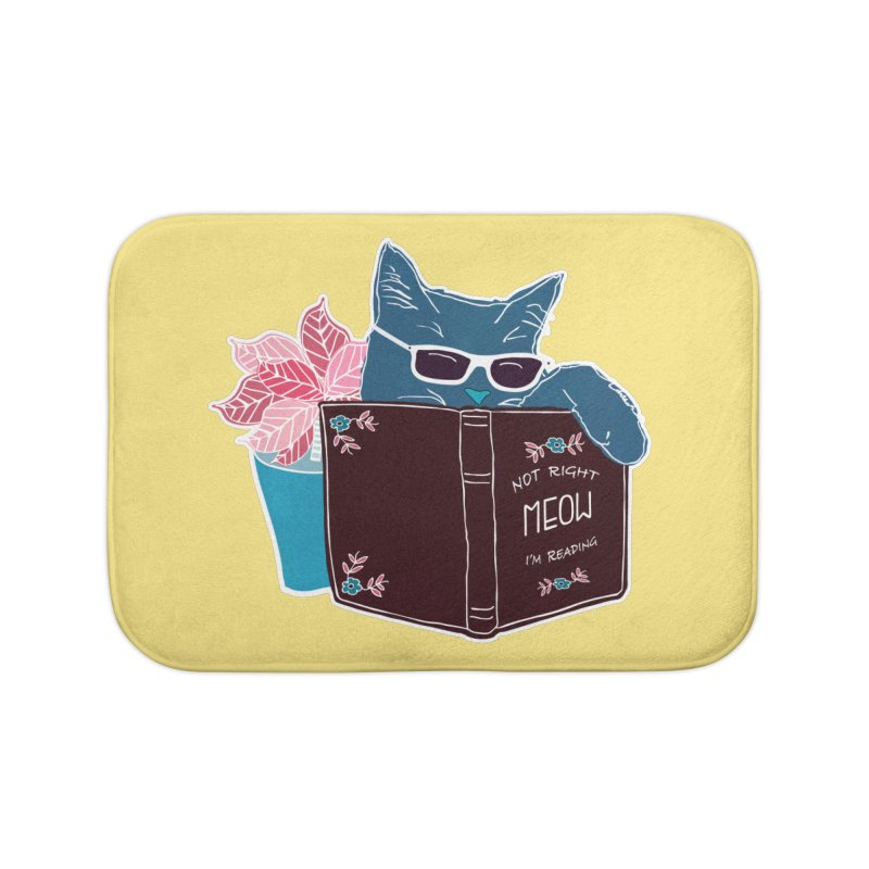 """Cool Cat """"Not Right Meow I'm Reading"""" Cat with Sunglasses Book Quote Home Bath Mat by Flourish & Flow's Artist Shop"""