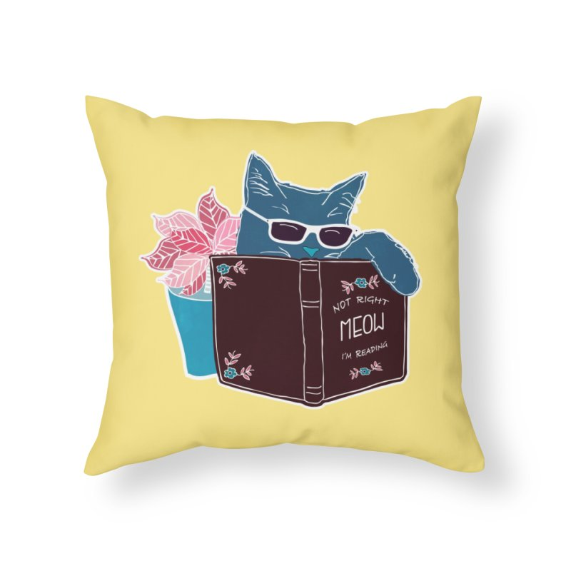 """Cool Cat """"Not Right Meow I'm Reading"""" Cat with Sunglasses Book Quote Home Throw Pillow by Flourish & Flow's Artist Shop"""