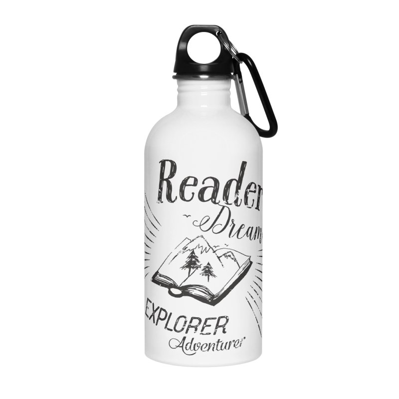 Reader Dreamer Explorer Adventurer Vintage Style Book lover Quote Accessories Water Bottle by Flourish & Flow's Artist Shop